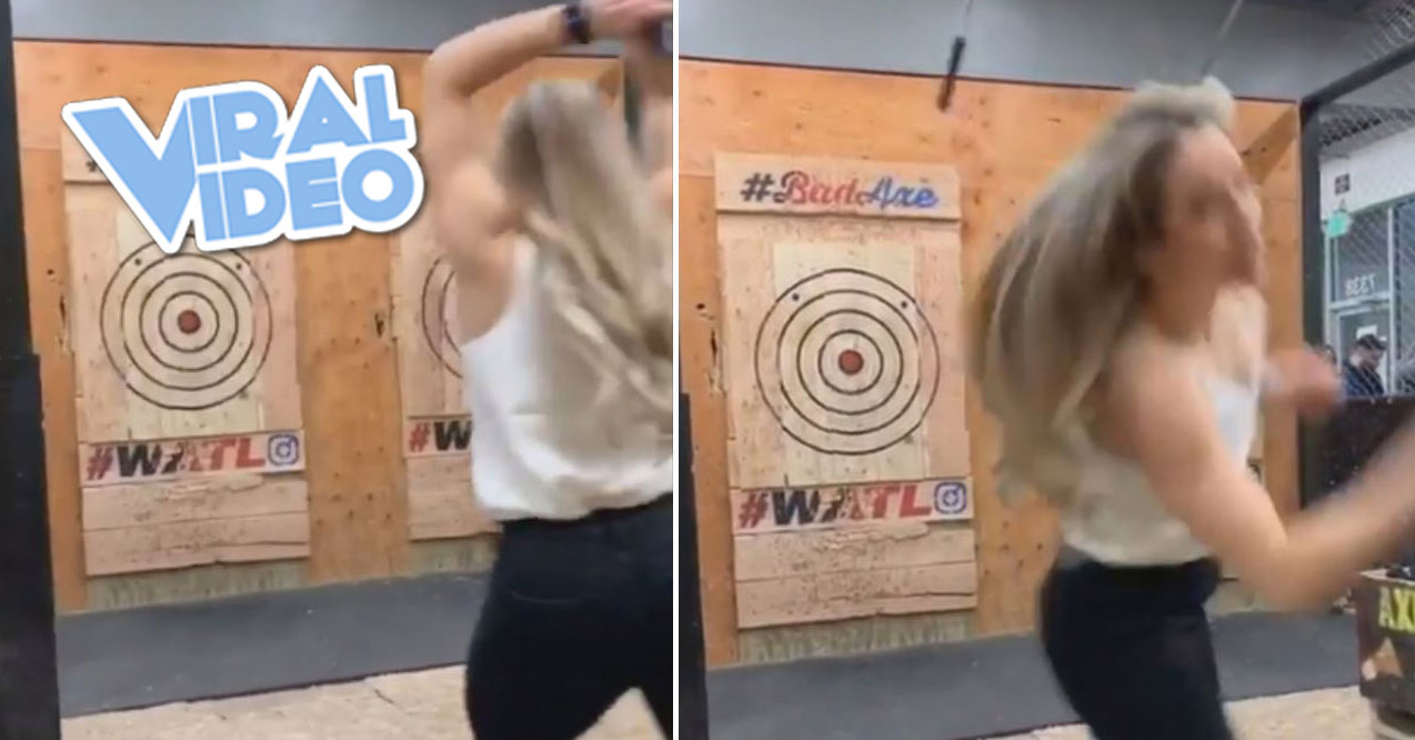 Viral Video: Axe Throwing Goes Wrong
